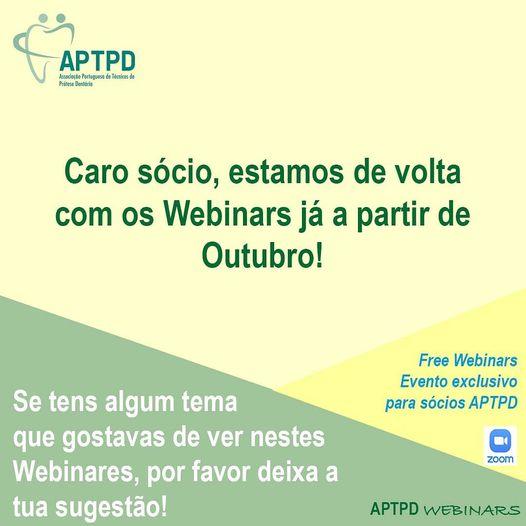 Imagem da notícia: Webinares da APTPD regressam em outubro